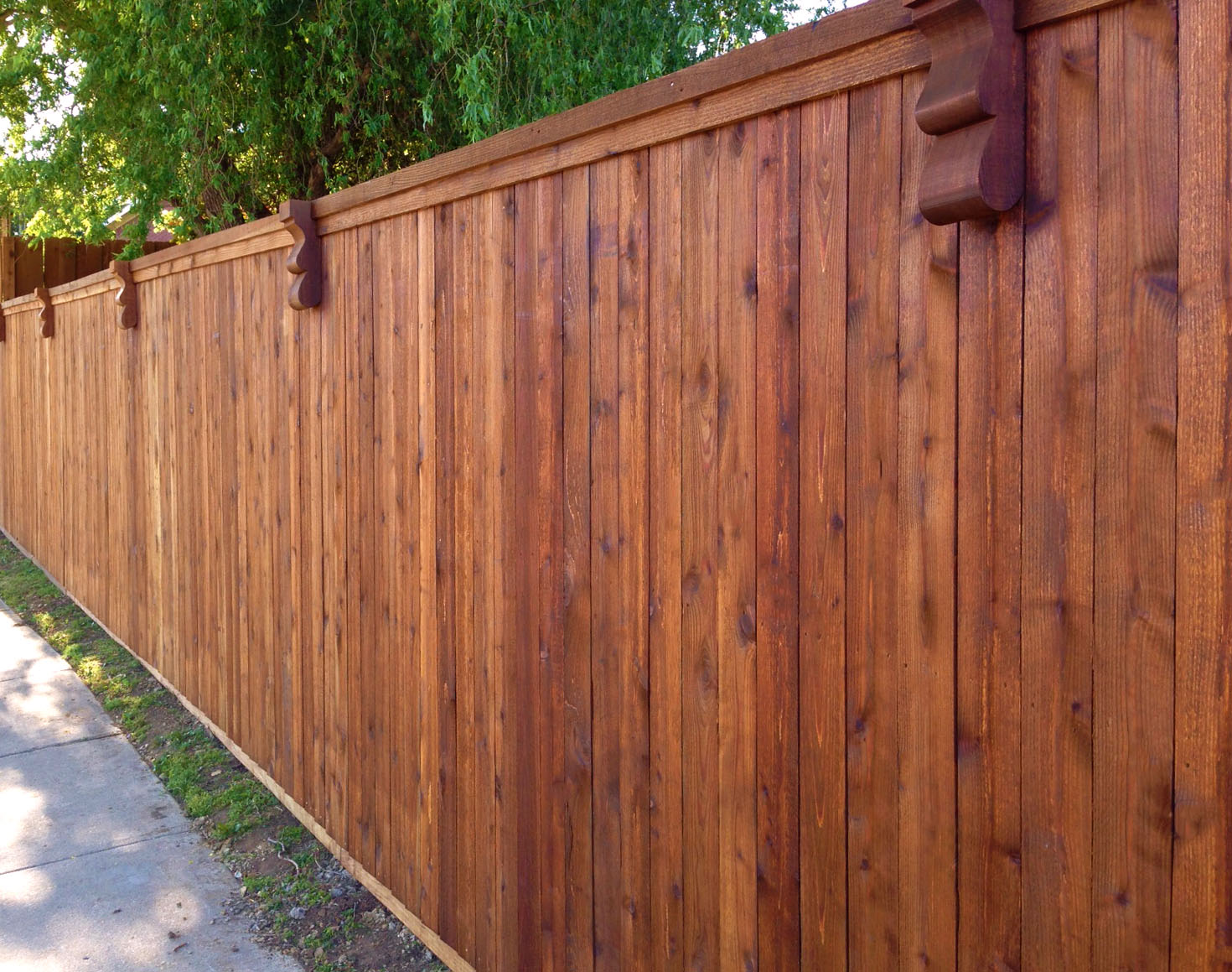 Custom Cedar Fence Stained With Sikkens Natural Transitional Landscape Denver By All Access Fence Wood Vinyl Ornamental Iron